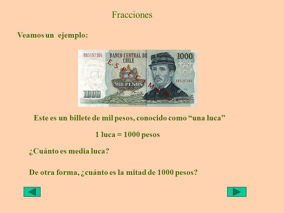 Fracciones Veamos un ejemplo: Este es un billete de mil pesos, conocido como una luca 1 luca = 1000 pesos ¿Cuánto es media luca? De otra forma, ¿cuánt