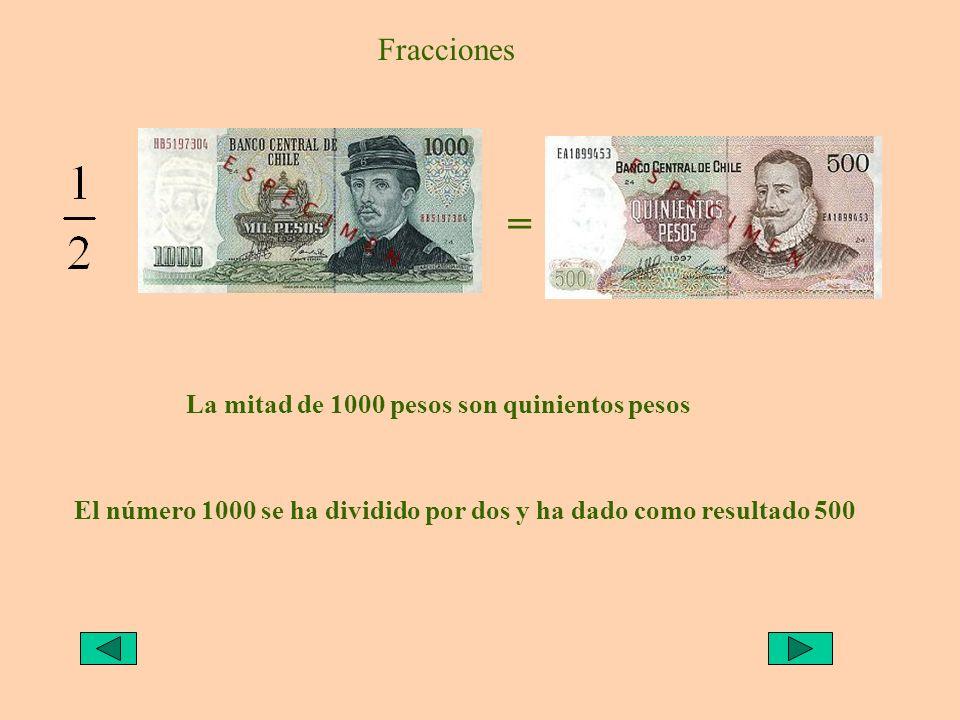 Fracciones = La mitad de 100 pesos, o la mitad de una gamba, o media gamba, son 50 pesos.