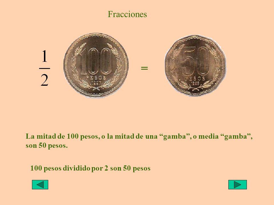 Fracciones = La mitad de 100 pesos, o la mitad de una gamba, o media gamba, son 50 pesos. 100 pesos dividido por 2 son 50 pesos