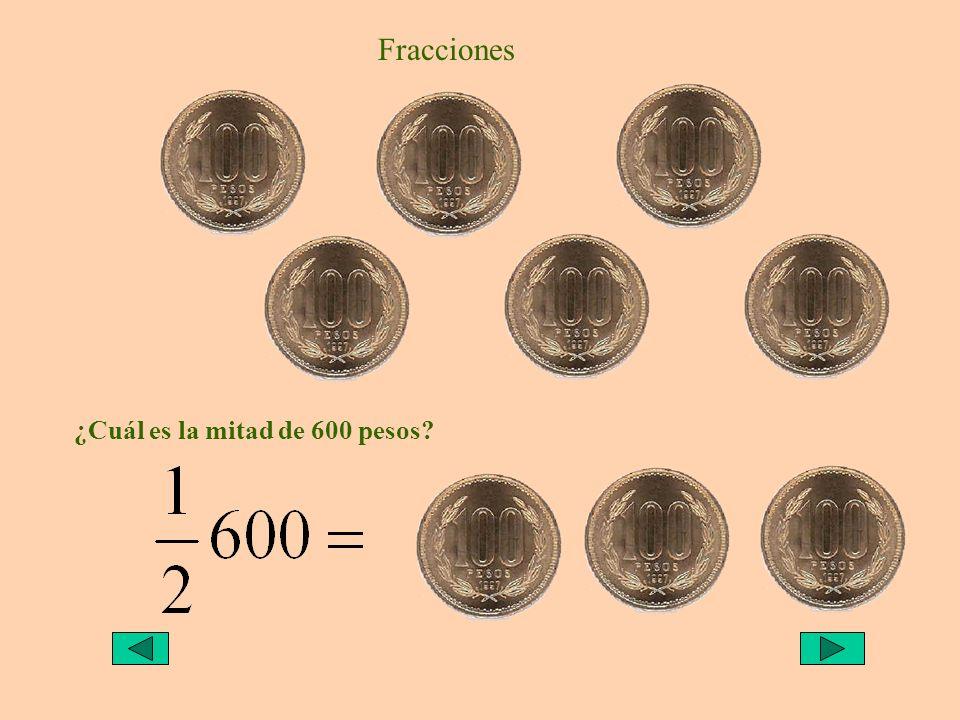 Fracciones ¿Cuál es la mitad de 600 pesos?