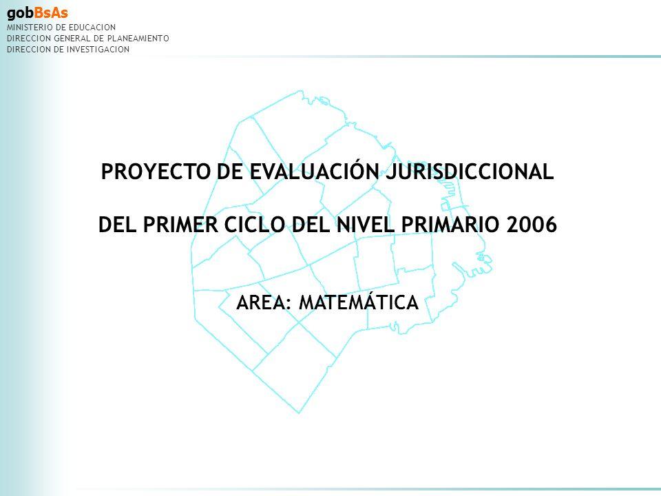 gobBsAs MINISTERIO DE EDUCACION DIRECCION GENERAL DE PLANEAMIENTO DIRECCION DE INVESTIGACION PROYECTO DE EVALUACIÓN JURISDICCIONAL DEL PRIMER CICLO DEL NIVEL PRIMARIO 2006 Fueron consideradas PARCIALMENTE CORRECTAS las respuestas en las que se podía inferir que los niños habían entendido el problema planteado y: Claves de corrección realizaban los cálculos que permitían hallar la respuesta del problema pero cometían algún error y obtenían un resultado incorrecto.