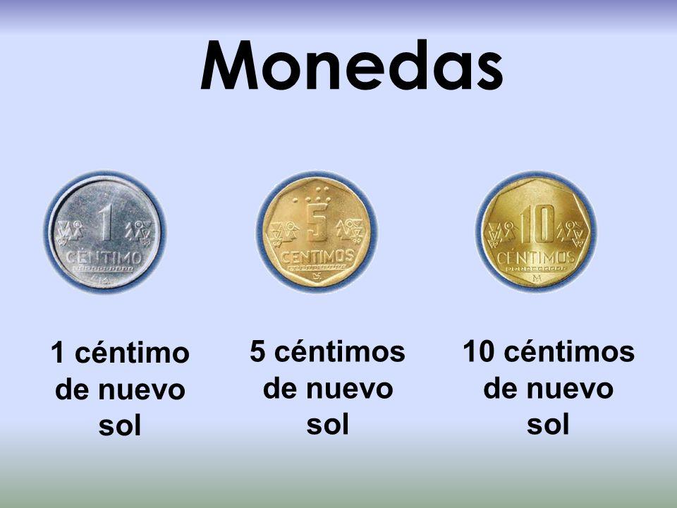 Monedas 10 céntimos de nuevo sol 5 céntimos de nuevo sol 1 céntimo de nuevo sol