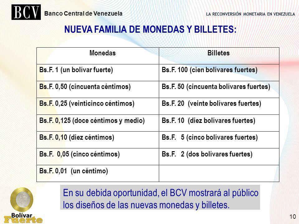 LA RECONVERSIÓN MONETARIA EN VENEZUELA Banco Central de Venezuela 10 NUEVA FAMILIA DE MONEDAS Y BILLETES: Bs.F. 0,01 (un céntimo) Bs.F. 2 (dos bolívar