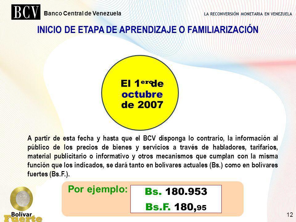 LA RECONVERSIÓN MONETARIA EN VENEZUELA Banco Central de Venezuela 12 INICIO DE ETAPA DE APRENDIZAJE O FAMILIARIZACIÓN El 1 de octubre de 2007 ero A pa