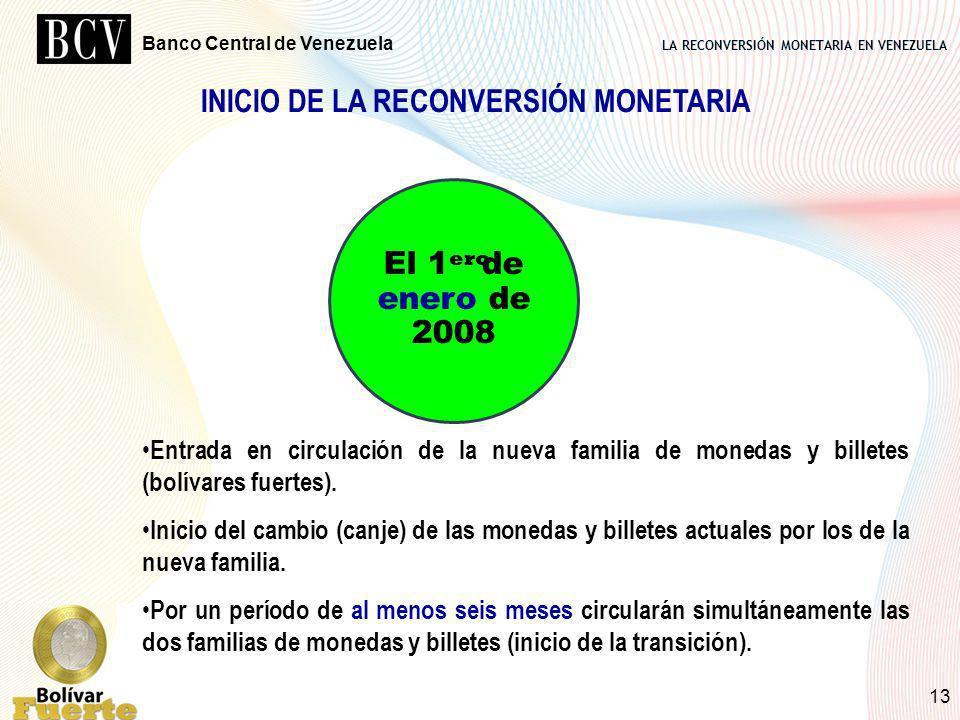 LA RECONVERSIÓN MONETARIA EN VENEZUELA Banco Central de Venezuela 13 El 1 de enero de 2008 ero Entrada en circulación de la nueva familia de monedas y