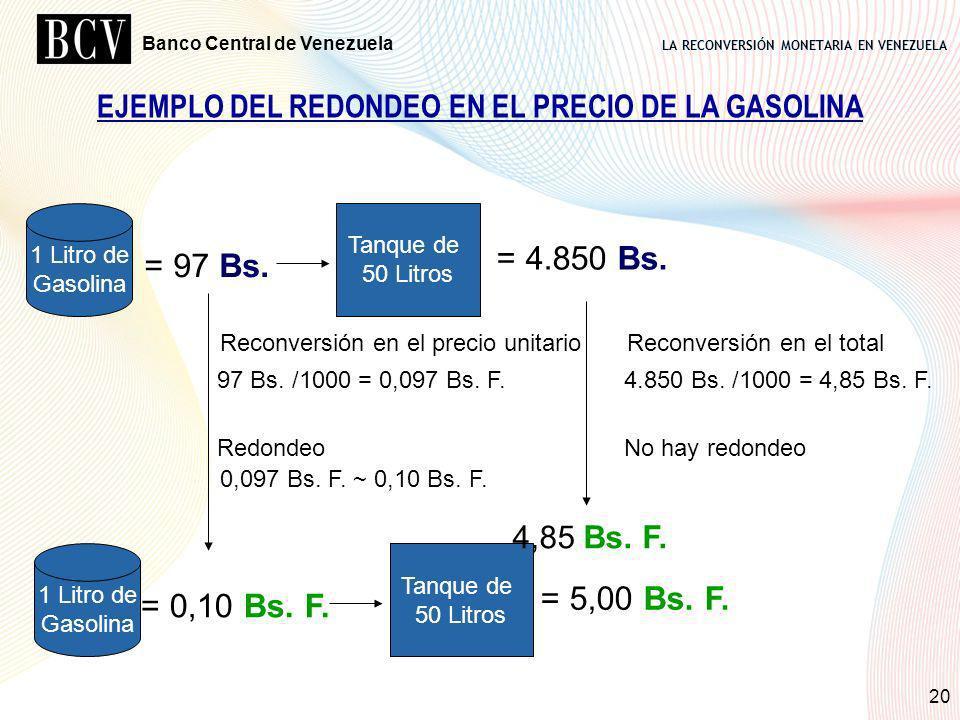 LA RECONVERSIÓN MONETARIA EN VENEZUELA Banco Central de Venezuela 20 = 97 Bs. 1 Litro de Gasolina Tanque de 50 Litros = 4.850 Bs. = 0,10 Bs. F. 1 Litr