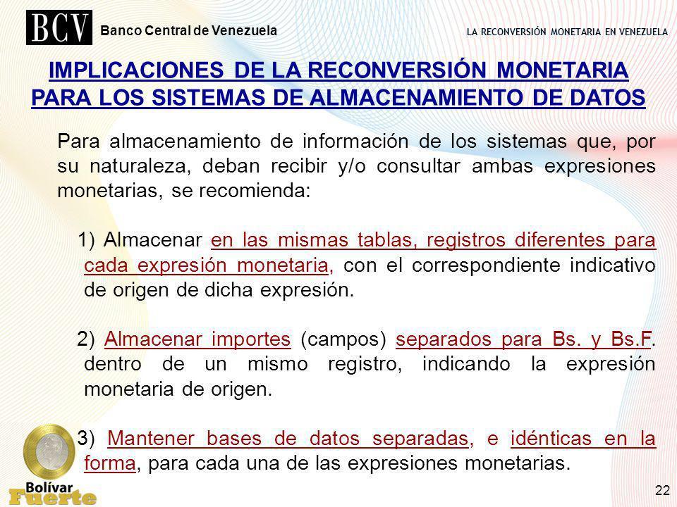 LA RECONVERSIÓN MONETARIA EN VENEZUELA Banco Central de Venezuela 22 IMPLICACIONES DE LA RECONVERSIÓN MONETARIA PARA LOS SISTEMAS DE ALMACENAMIENTO DE