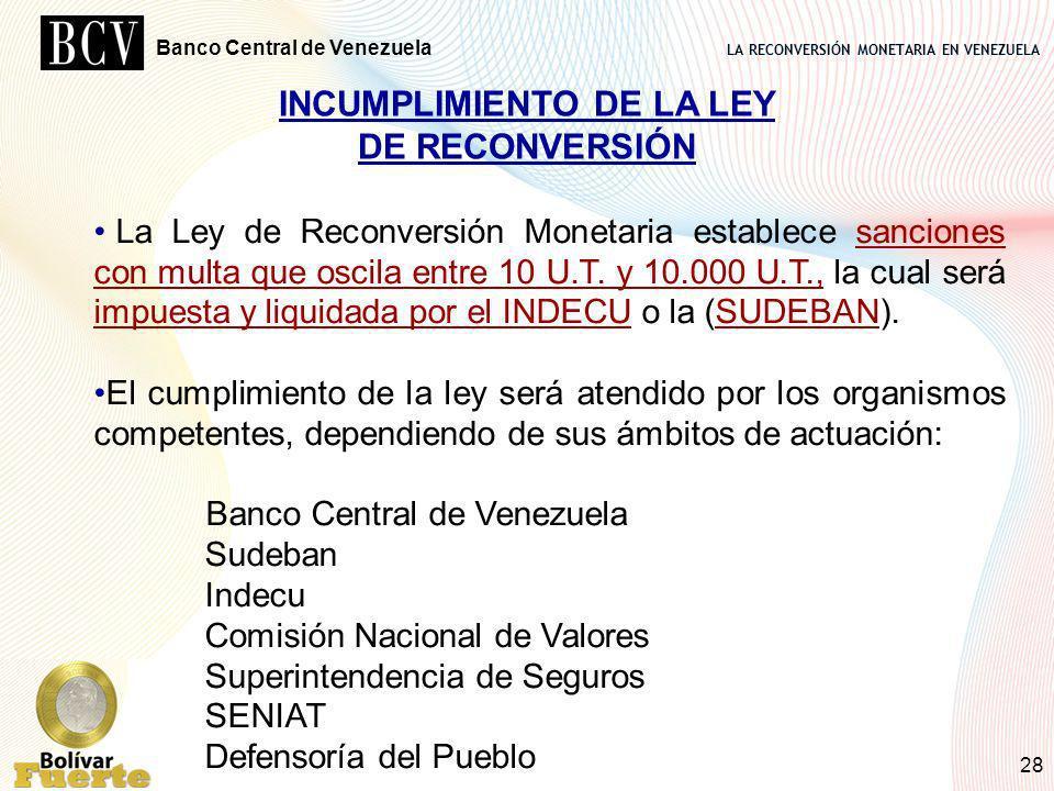 LA RECONVERSIÓN MONETARIA EN VENEZUELA Banco Central de Venezuela 28 INCUMPLIMIENTO DE LA LEY DE RECONVERSIÓN La Ley de Reconversión Monetaria estable
