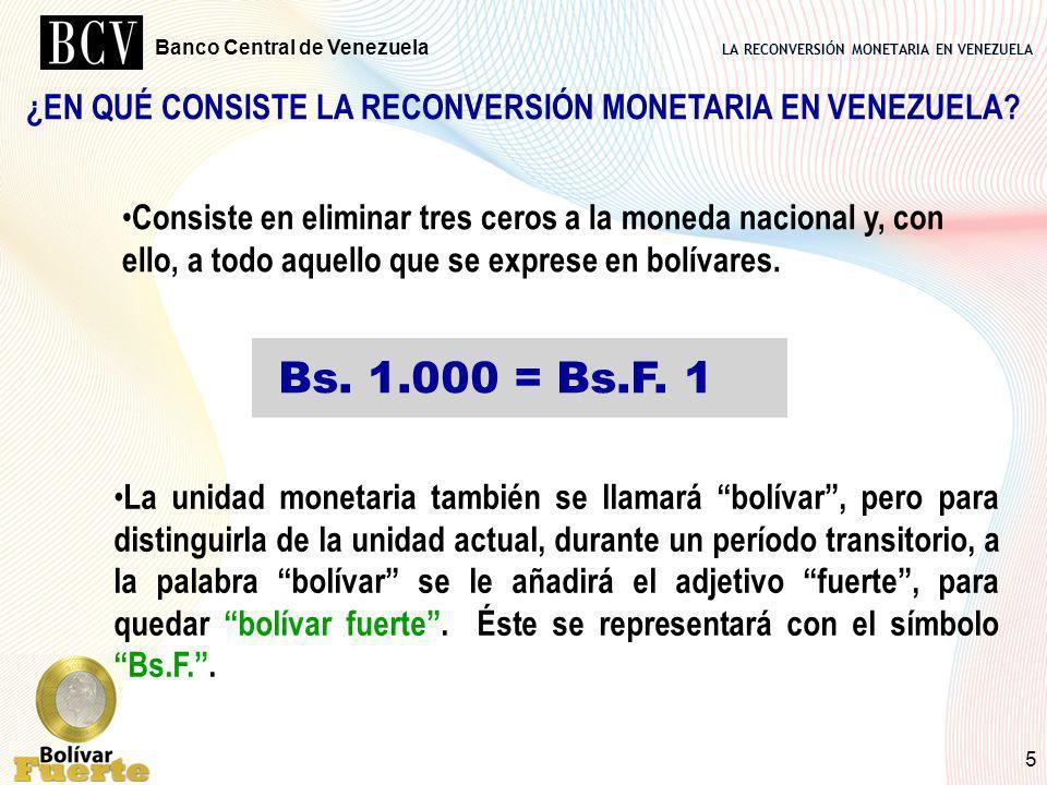 LA RECONVERSIÓN MONETARIA EN VENEZUELA Banco Central de Venezuela 5 ¿EN QUÉ CONSISTE LA RECONVERSIÓN MONETARIA EN VENEZUELA? Consiste en eliminar tres
