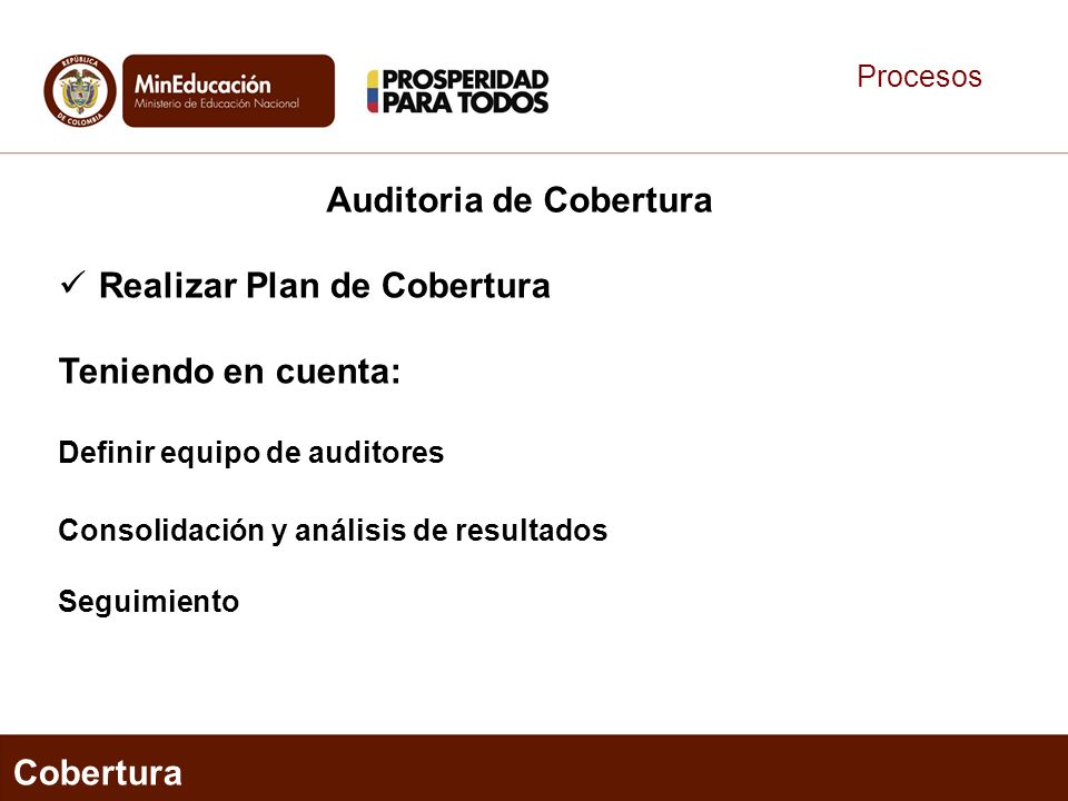 Procesos Cobertura Auditoria de Cobertura Realizar Plan de Cobertura Teniendo en cuenta: Definir equipo de auditores Consolidación y análisis de resultados Seguimiento