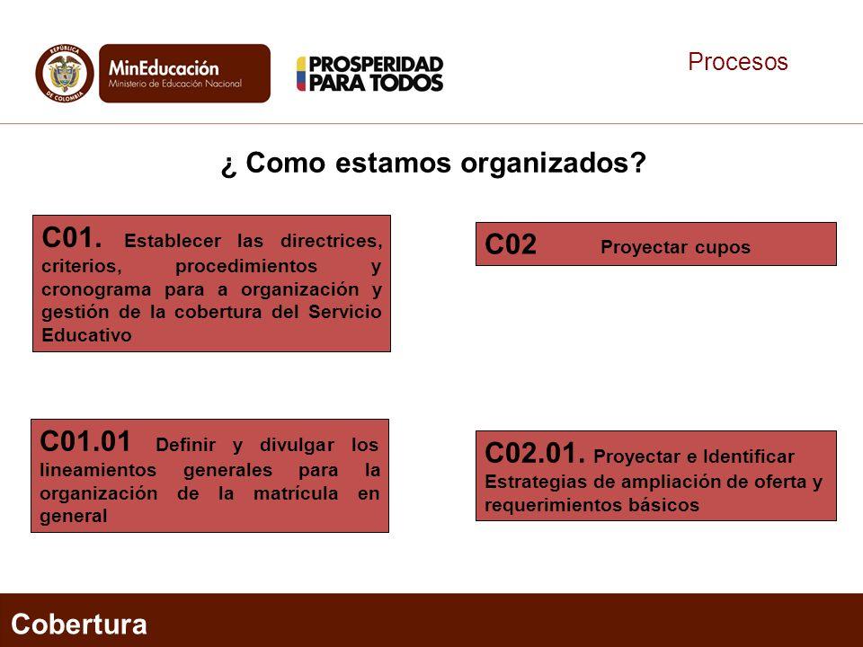 Procesos C01. Establecer las directrices, criterios, procedimientos y cronograma para a organización y gestión de la cobertura del Servicio Educativo