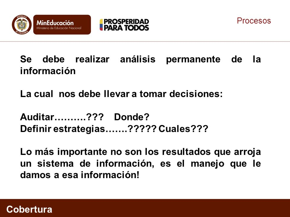 Procesos Cobertura Se debe realizar análisis permanente de la información La cual nos debe llevar a tomar decisiones: Auditar……….??.