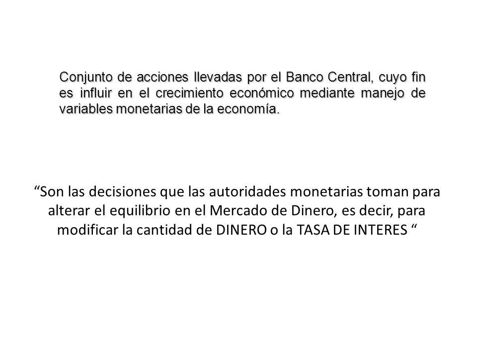 Son las decisiones que las autoridades monetarias toman para alterar el equilibrio en el Mercado de Dinero, es decir, para modificar la cantidad de DI