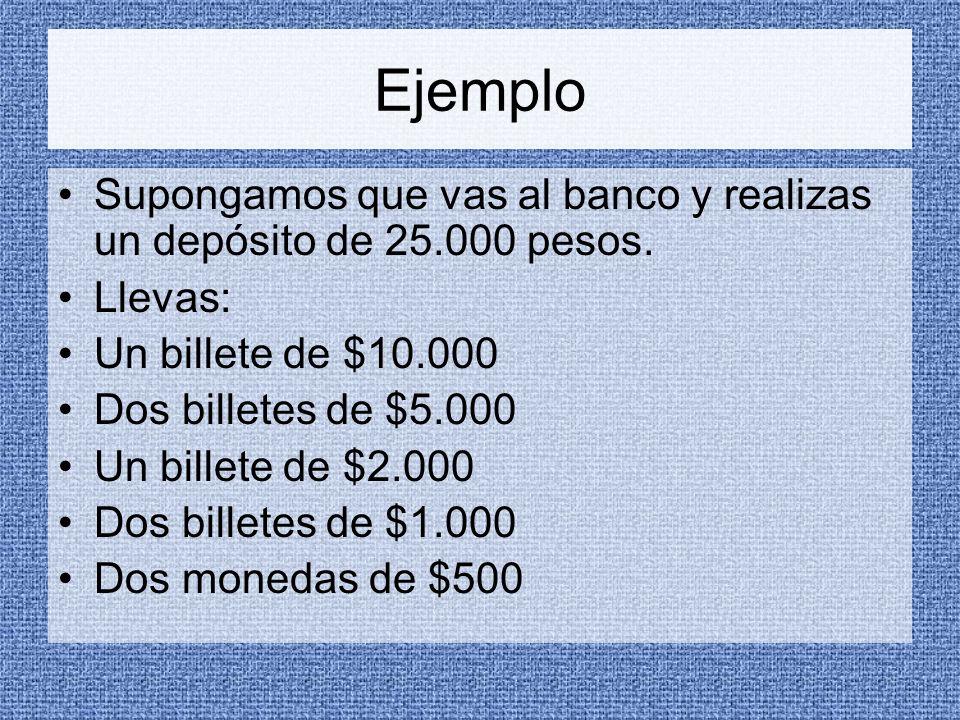 Ejemplo Supongamos que vas al banco y realizas un depósito de 25.000 pesos.