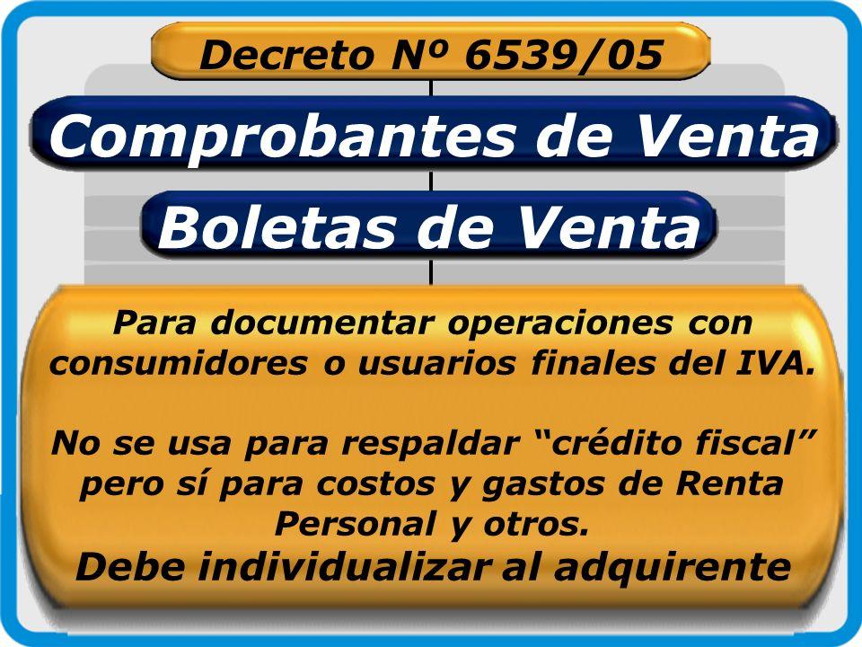 Decreto Nº 6539/05 Comprobantes de Venta Boletas de Venta Para documentar operaciones con consumidores o usuarios finales del IVA. No se usa para resp