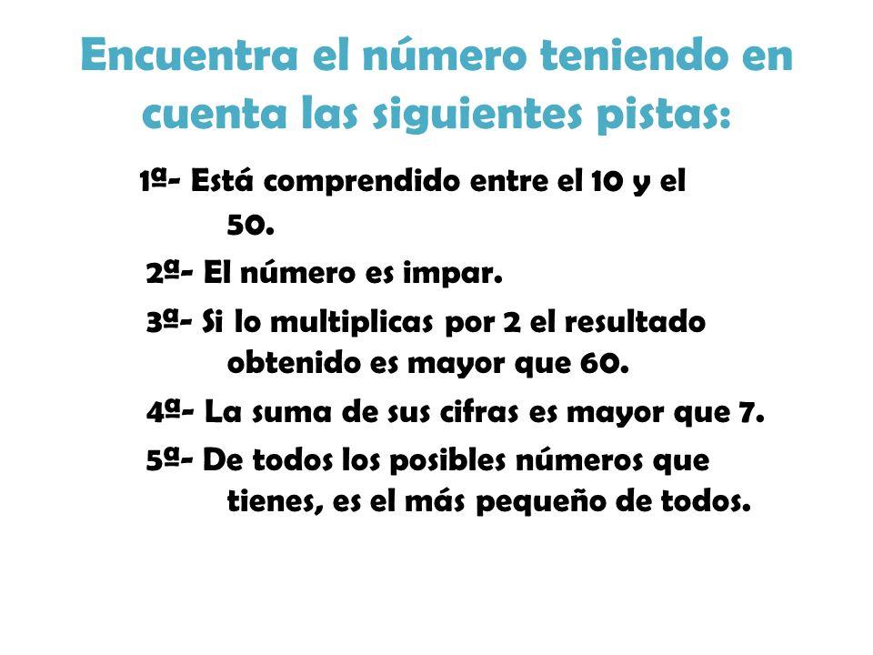 Encuentra el número teniendo en cuenta las siguientes pistas: 1ª- Está comprendido entre el 10 y el 50. 2ª- El número es impar. 3ª- Si lo multiplicas