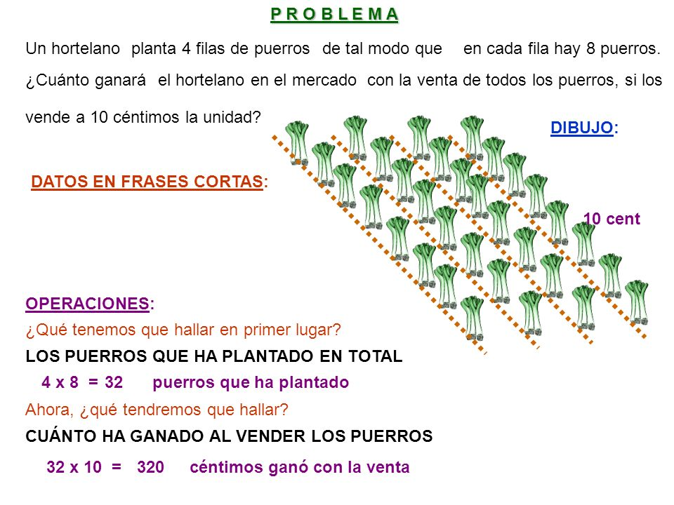 DATOS EN FRASES CORTAS: 4 x 8 =32 LOS PUERROS QUE HA PLANTADO EN TOTAL 32 x 10 =320 puerros que ha plantado DIBUJO: OPERACIONES: P R O B L E M A Un hortelanoplanta 4 filas de puerrosde tal modo queen cada fila hay 8 puerros.
