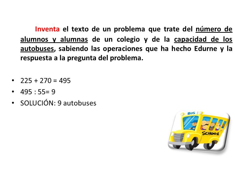 Inventa el texto de un problema que trate del número de alumnos y alumnas de un colegio y de la capacidad de los autobuses, sabiendo las operaciones q