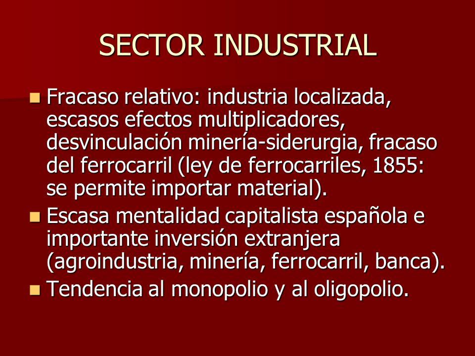 SECTOR INDUSTRIAL Fracaso relativo: industria localizada, escasos efectos multiplicadores, desvinculación minería-siderurgia, fracaso del ferrocarril (ley de ferrocarriles, 1855: se permite importar material).