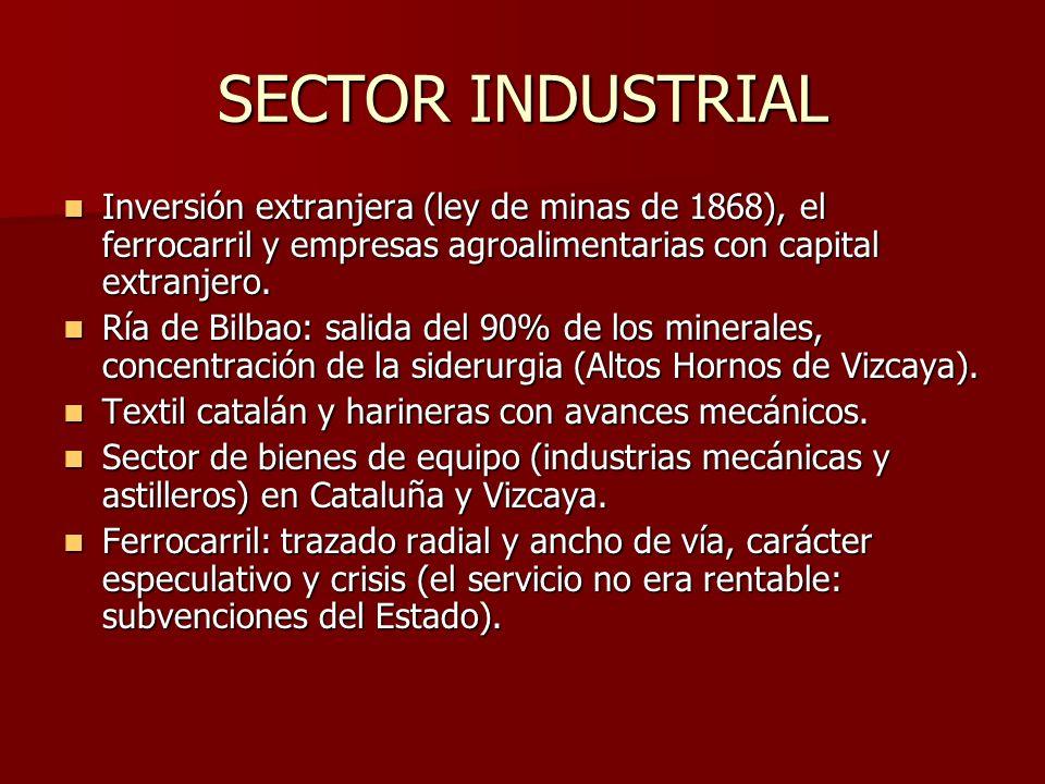 SECTOR INDUSTRIAL Inversión extranjera (ley de minas de 1868), el ferrocarril y empresas agroalimentarias con capital extranjero.