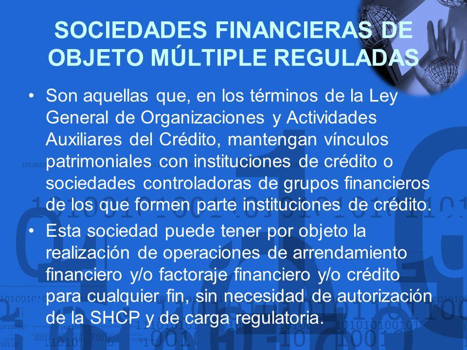 SOCIEDADES FINANCIERAS DE OBJETO MÚLTIPLE REGULADAS Son aquellas que, en los términos de la Ley General de Organizaciones y Actividades Auxiliares del
