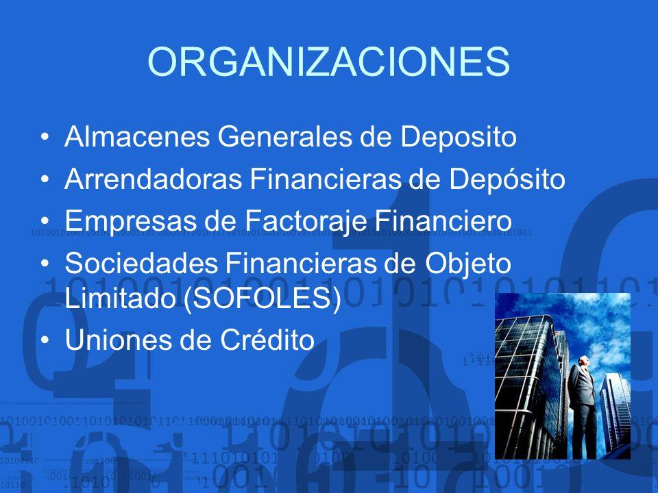 ORGANIZACIONES Almacenes Generales de Deposito Arrendadoras Financieras de Depósito Empresas de Factoraje Financiero Sociedades Financieras de Objeto