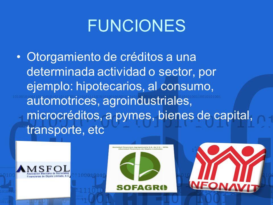 FUNCIONES Otorgamiento de créditos a una determinada actividad o sector, por ejemplo: hipotecarios, al consumo, automotrices, agroindustriales, microc