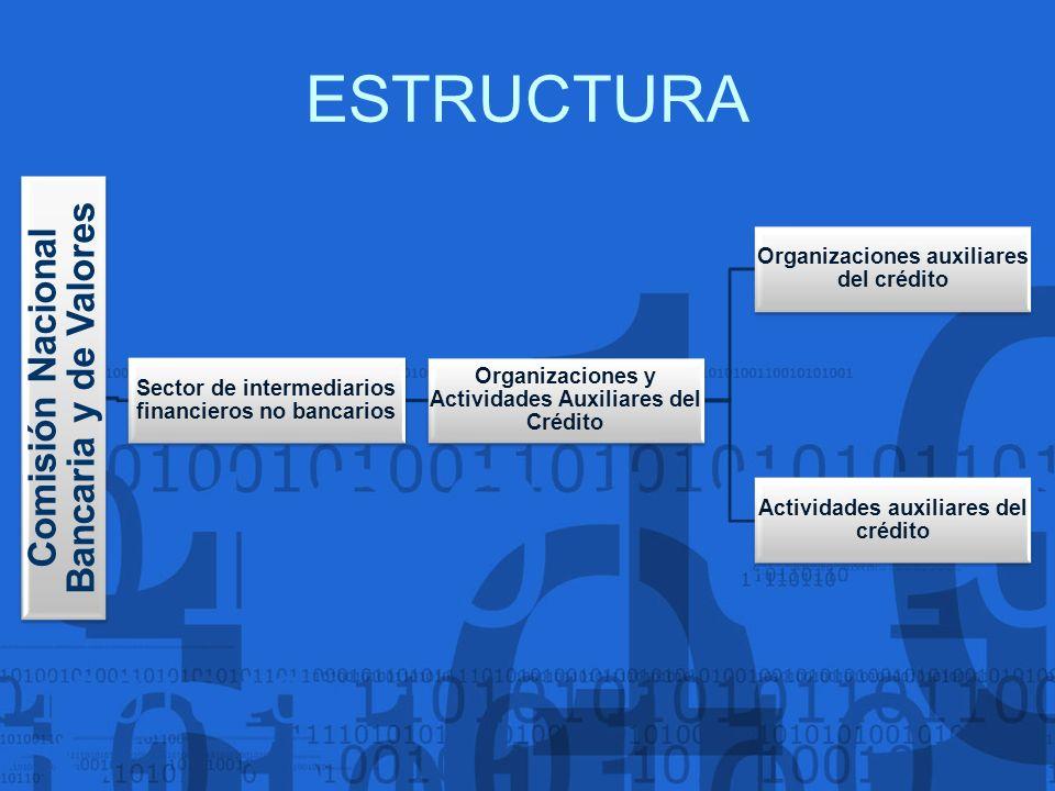 ESTRUCTURA Comisión Nacional Bancaria y de Valores Sector de intermediarios financieros no bancarios Organizaciones y Actividades Auxiliares del Crédi