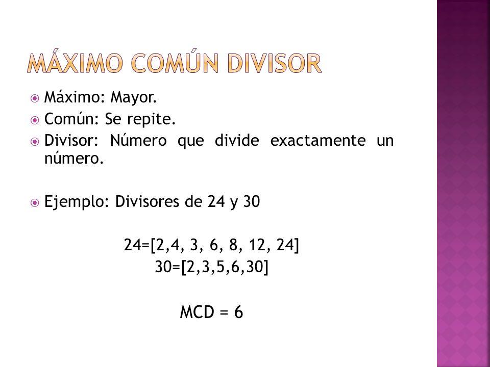 Máximo: Mayor.Común: Se repite. Divisor: Número que divide exactamente un número.