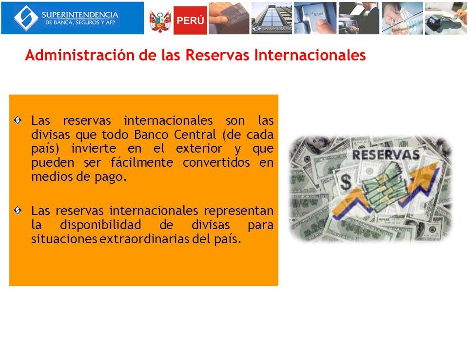 Las reservas internacionales son las divisas que todo Banco Central (de cada país) invierte en el exterior y que pueden ser fácilmente convertidos en