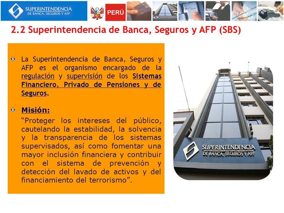 La Superintendencia de Banca, Seguros y AFP es el organismo encargado de la regulación y supervisión de los Sistemas Financiero, Privado de Pensiones