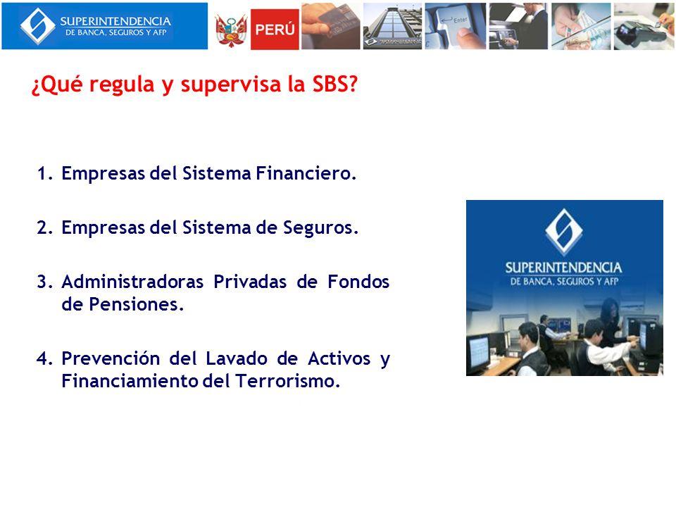 1.Empresas del Sistema Financiero. 2.Empresas del Sistema de Seguros. 3.Administradoras Privadas de Fondos de Pensiones. 4.Prevención del Lavado de Ac