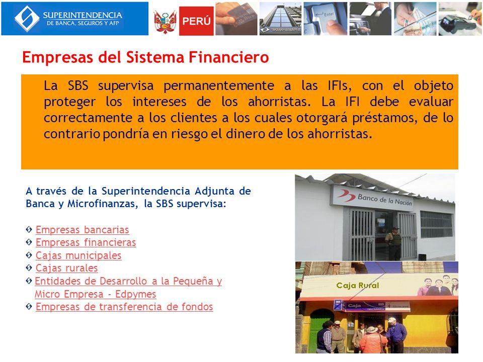 La SBS supervisa permanentemente a las IFIs, con el objeto proteger los intereses de los ahorristas. La IFI debe evaluar correctamente a los clientes