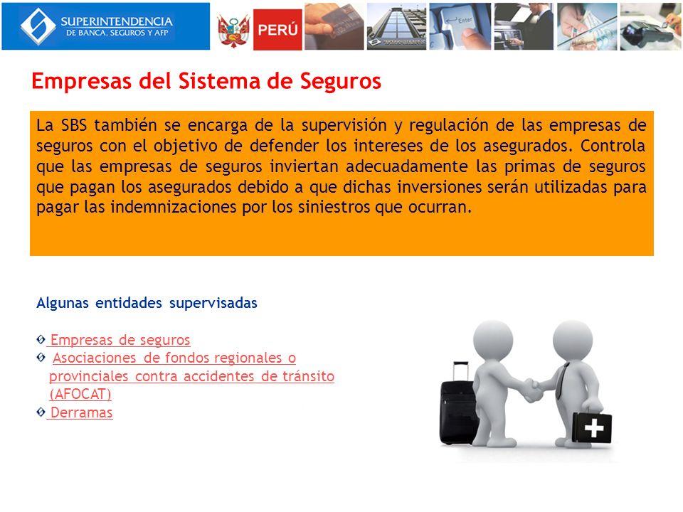 La SBS también se encarga de la supervisión y regulación de las empresas de seguros con el objetivo de defender los intereses de los asegurados. Contr