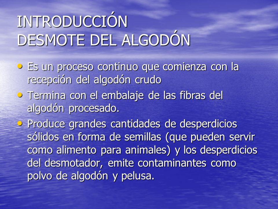 INTRODUCCIÓN DESMOTE DEL ALGODÓN Es un proceso continuo que comienza con la recepción del algodón crudo Es un proceso continuo que comienza con la recepción del algodón crudo Termina con el embalaje de las fibras del algodón procesado.