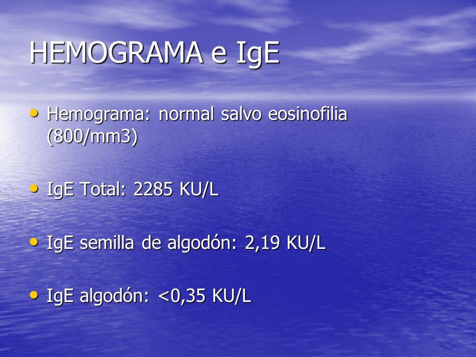 HEMOGRAMA e IgE Hemograma: normal salvo eosinofilia (800/mm3) Hemograma: normal salvo eosinofilia (800/mm3) IgE Total: 2285 KU/L IgE Total: 2285 KU/L IgE semilla de algodón: 2,19 KU/L IgE semilla de algodón: 2,19 KU/L IgE algodón: <0,35 KU/L IgE algodón: <0,35 KU/L