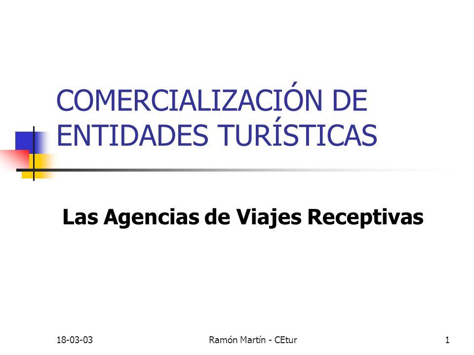 18-03-03Ramón Martín - CEtur1 COMERCIALIZACIÓN DE ENTIDADES TURÍSTICAS Las Agencias de Viajes Receptivas