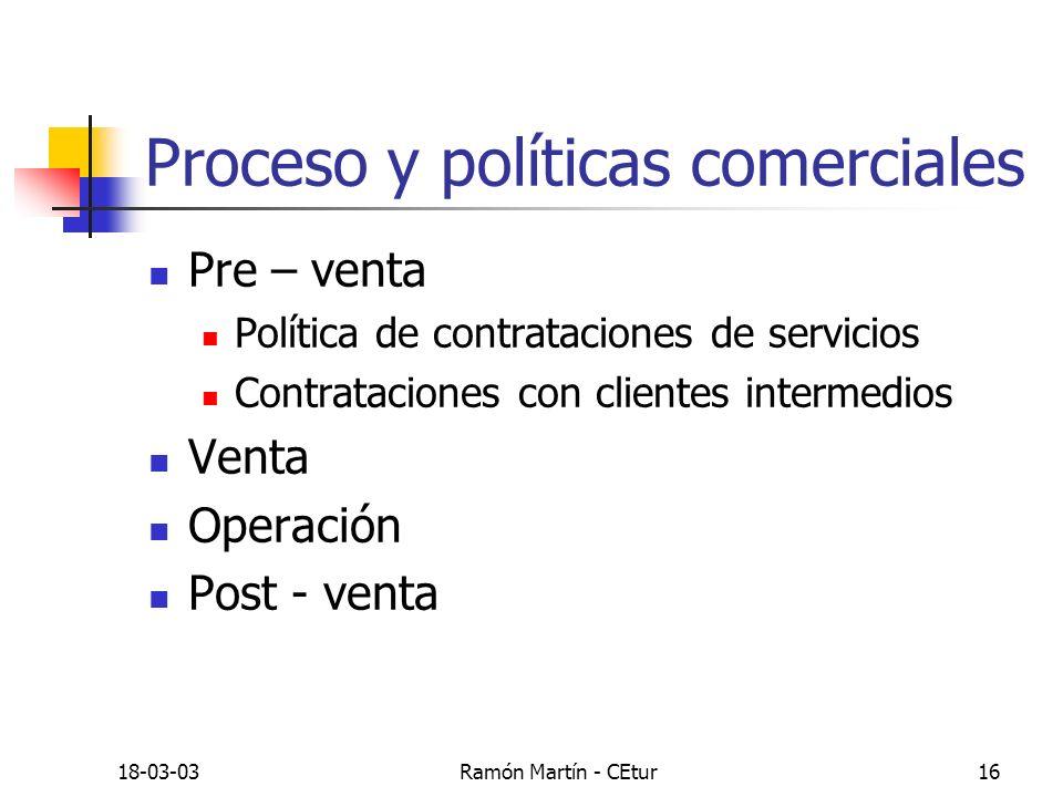 18-03-03Ramón Martín - CEtur16 Proceso y políticas comerciales Pre – venta Política de contrataciones de servicios Contrataciones con clientes interme