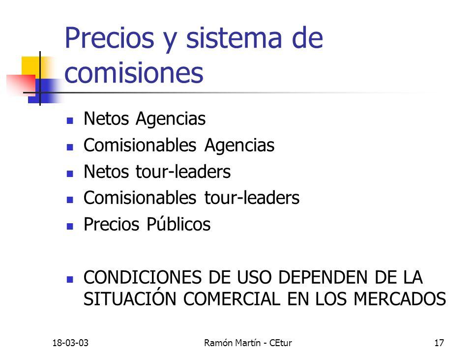 18-03-03Ramón Martín - CEtur17 Precios y sistema de comisiones Netos Agencias Comisionables Agencias Netos tour-leaders Comisionables tour-leaders Pre