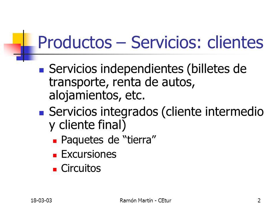 18-03-03Ramón Martín - CEtur2 Productos – Servicios: clientes Servicios independientes (billetes de transporte, renta de autos, alojamientos, etc. Ser