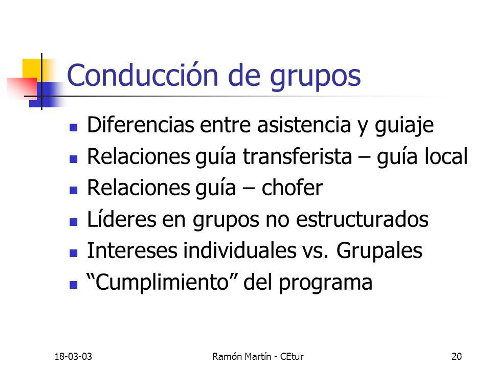 18-03-03Ramón Martín - CEtur20 Conducción de grupos Diferencias entre asistencia y guiaje Relaciones guía transferista – guía local Relaciones guía –