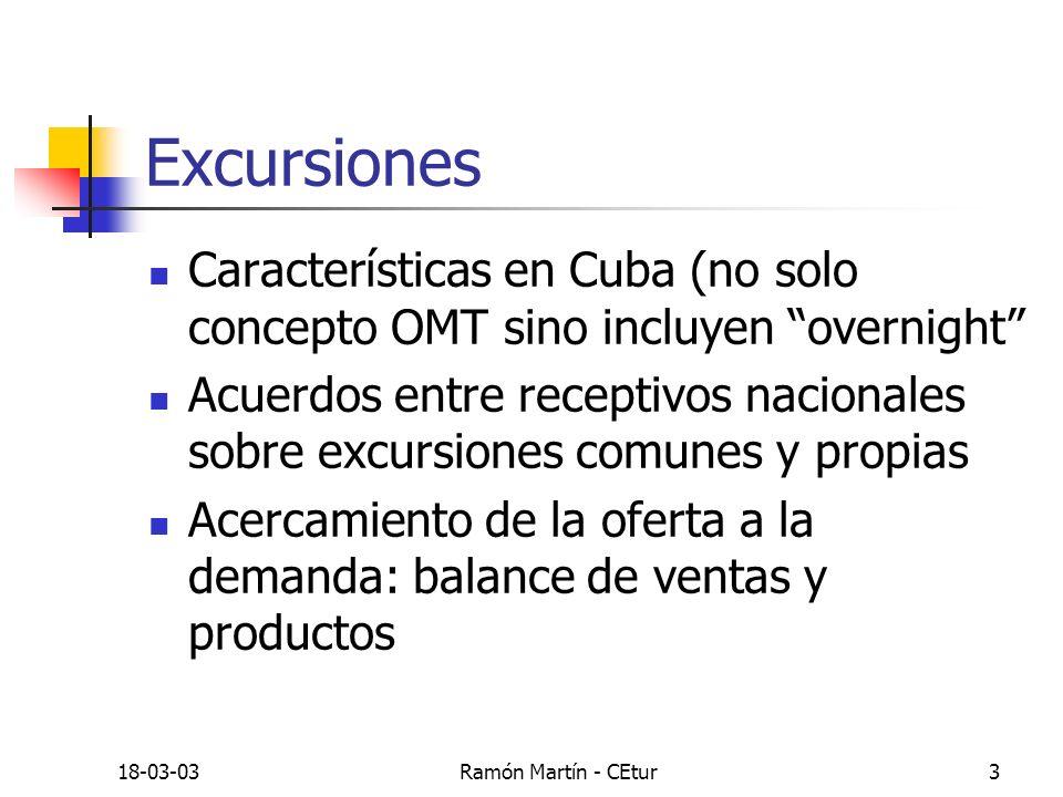 18-03-03Ramón Martín - CEtur4 Circuitos o recorridos Características generales Mercados más interesados Variante multidestinos internacionales Excursiones incluidas en los circuitos La ruta turística