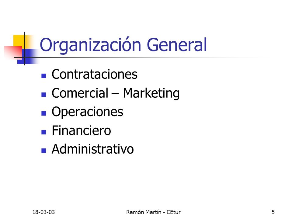18-03-03Ramón Martín - CEtur5 Organización General Contrataciones Comercial – Marketing Operaciones Financiero Administrativo