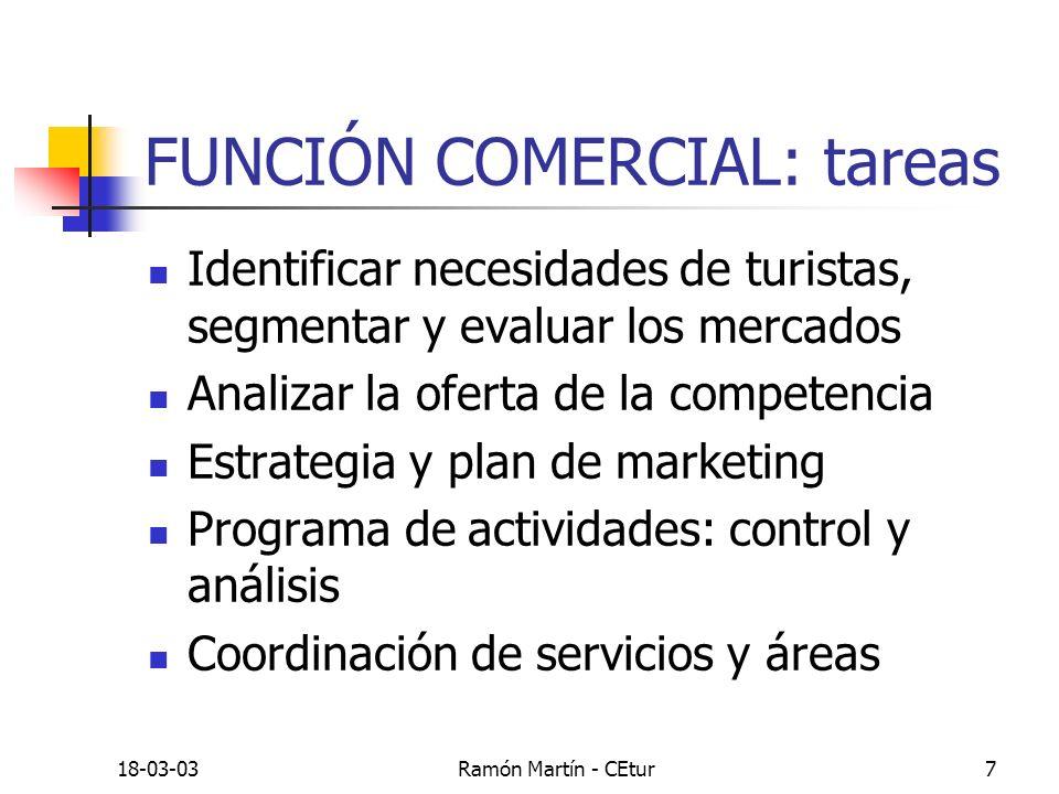 18-03-03Ramón Martín - CEtur7 FUNCIÓN COMERCIAL: tareas Identificar necesidades de turistas, segmentar y evaluar los mercados Analizar la oferta de la