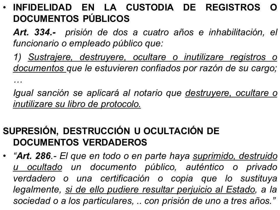 INFIDELIDAD EN LA CUSTODIA DE REGISTROS O DOCUMENTOS PÚBLICOS Art. 334.- prisión de dos a cuatro años e inhabilitación, el funcionario o empleado públ