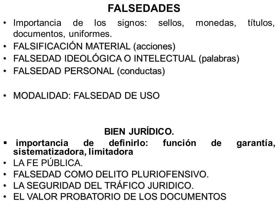 FALSEDADES Importancia de los signos: sellos, monedas, títulos, documentos, uniformes. FALSIFICACIÓN MATERIAL (acciones)FALSIFICACIÓN MATERIAL (accion