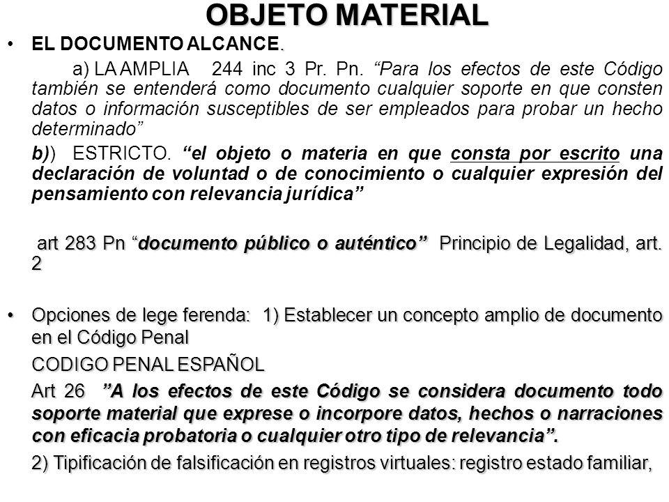 OBJETO MATERIAL.EL DOCUMENTO ALCANCE. a) LA AMPLIA 244 inc 3 Pr. Pn. Para los efectos de este Código también se entenderá como documento cualquier sop
