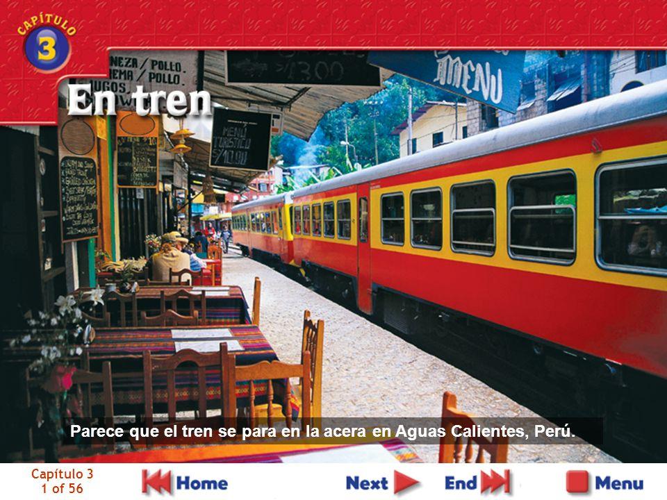 Capítulo 3 1 of 56 Parece que el tren se para en la acera en Aguas Calientes, Perú.