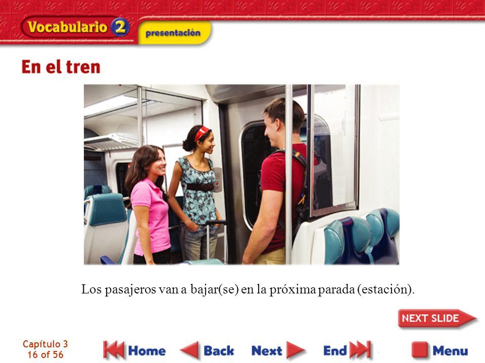 Capítulo 3 16 of 56 Los pasajeros van a bajar(se) en la próxima parada (estación).