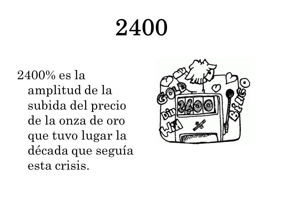 2400 2400% es la amplitud de la subida del precio de la onza de oro que tuvo lugar la década que seguía esta crisis.